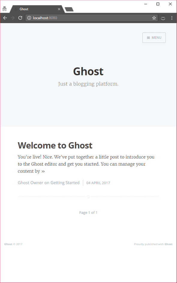 Ghost default homepage